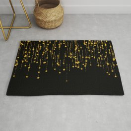 Twinkle Golden Stars -Dream- Black and Gold Rug