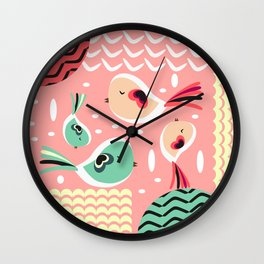Funny birds in pink and blue Wall Clock