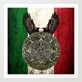 MEXICAN EAGLE AZTEC CALENDAR FLAG Art Print