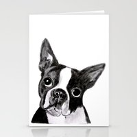 boston terrier Stationery Cards featuring Boston Terrier by Gooberella