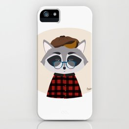 Hipster Raccoon iPhone Case