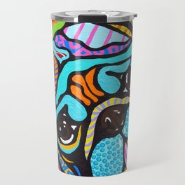 Pooped Pug Dog Puppy Designer Series Bright Colorful Fun Art Design Bulldog Breeds Travel Mug