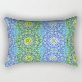 Blue and Green radial patterns Rectangular Pillow