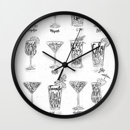 Cocktail menu graphic Wall Clock