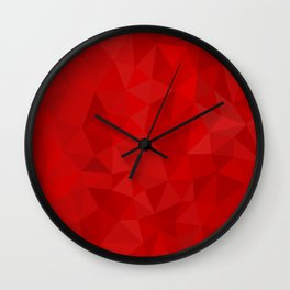 Red Polygon Background Wall Clock