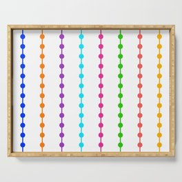 Geometric Droplets Pattern - Rainbow Colors on White Serving Tray