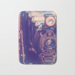 Preserving the Past a digital photograph of a vintage folding camera Bath Mat