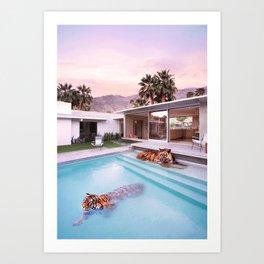 Palm Springs Tigers Art Print