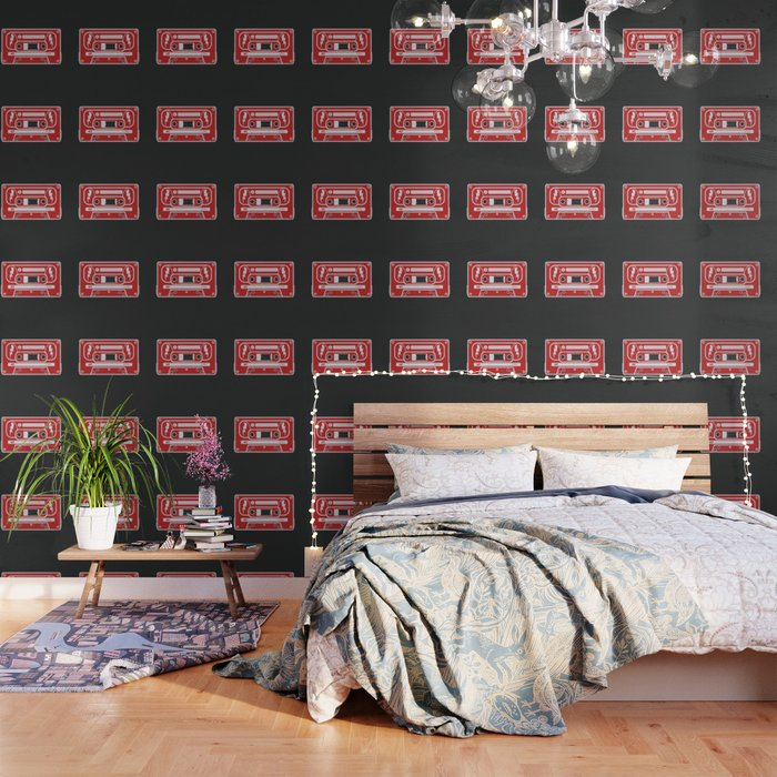 Retro Style Music Cassette in Red Wallpaper