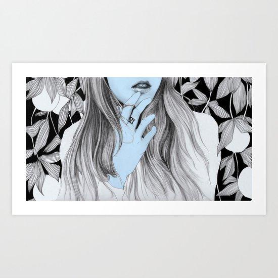 Seven blues  Art Print