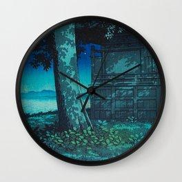 Kawase Hasui Vintage Japanese Woodblock Print Moonlight Shadows Under A Tall Tree Wooden Shrine Wall Clock