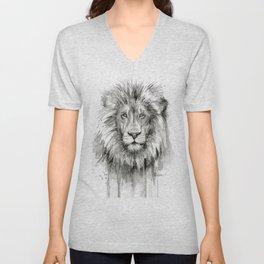 Lion Watercolor Unisex V-Neck