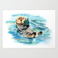 otter Art Prints featuring Otter by Anna Shell