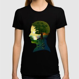 human nature, inner space of a portrait T-shirt