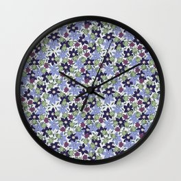 Violets Are Blue floral print Wall Clock