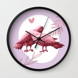 Low poly art with two kissing pigeons, pink pigeons silhouettes, valentines day love art print  Wall Clock