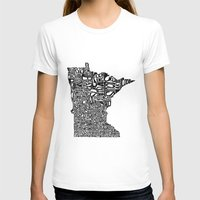 minnesota T-shirts featuring Typographic Minnesota by CAPow!