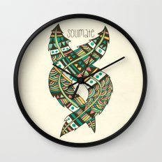 Soulmate Feathers Wall Clock