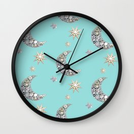 Vintage mother of pearl/ moon and stars on blue Wall Clock