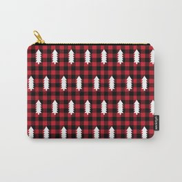 Camping Forest cabin chalet plaid red black and white minimal hipster gifts for festive christmas Carry-All Pouch