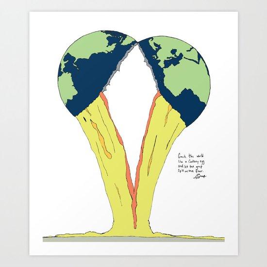 Crack the world. Art Print