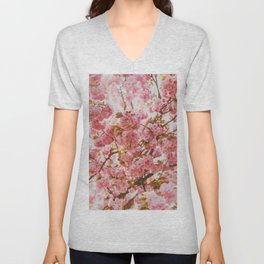 Beautiful Bundles Of Pink Cherry Blossoms In Full Bloom Japanese Sensibility Unisex V-Neck