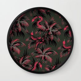 Snake Palms - Dark Vintage Coral Wall Clock