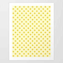 Amber Orange on Cream Yellow Stars Art Print