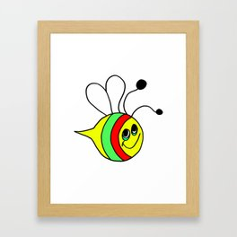 Drawn by hand a colorfull bee for children and adults Framed Art Print