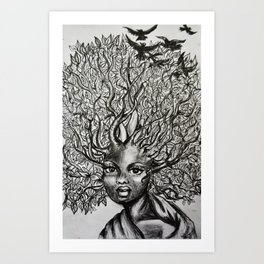 afro hair Art Print