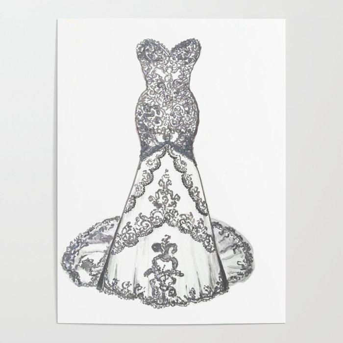 Wedding Dress Drawing, Bridesmaids Gift, Wedding Dress
