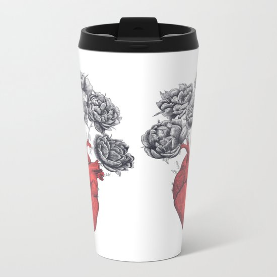 Heart cactus Metal Travel Mug