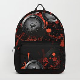 Loudspeaker with splatters and floral Backpack