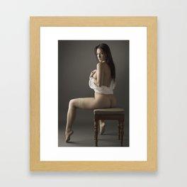 beige stockings 12 Framed Art Print