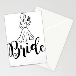 bride dress with flower wedding  Stationery Cards
