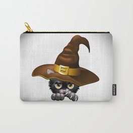 Black Kitten Cartoon With Witch Hat Carry-All Pouch