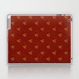 Gold Ek Onkar / Ik Onkar pattern on red Laptop & iPad Skin
