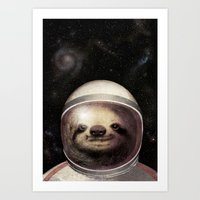 sloth Art Prints featuring Space Sloth  by Eric Fan