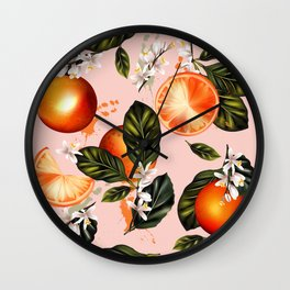 Citrus paradise. Tropical pattern with oranges Wall Clock