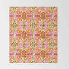 Pink & Orange Poppy 4B Throw Blanket