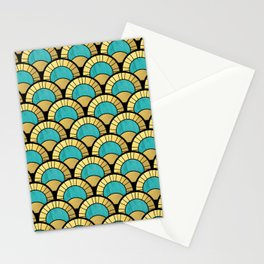 Duck Egg Green Art Deco Fan Pattern Stationery Cards