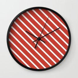 Coral Peach Diagonal Stripes Wall Clock