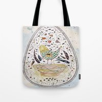 egg Tote Bags featuring Egg by Infra_milk