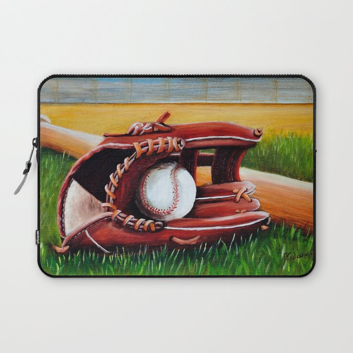 Baseball Fine Art Print Giclee Boys Room Whimsical Sports Decor Theme Laptop Sleeve By Artbyafox