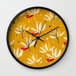 Vanilla flowers on a peanut background Wall Clock