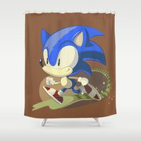 sonic Shower Curtains featuring Sonic by Rod Perich