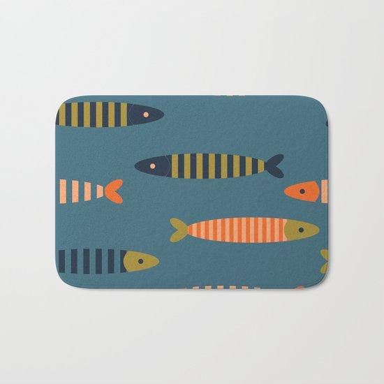 Striped fish pattern Bath Mat