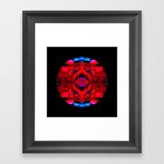Red Kaleidoscope Circle on Black Framed Art Print