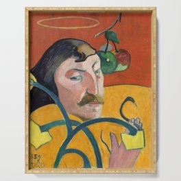 """Paul Gauguin """"Self-Portrait with Halo and Snake"""" Serving Tray"""