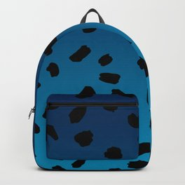 Ombre Blue Hawaii Gradient Duotone Black Spots Backpack